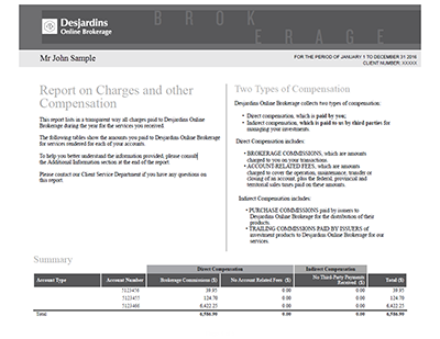 Example of annual report on fees and other forms of remuneration